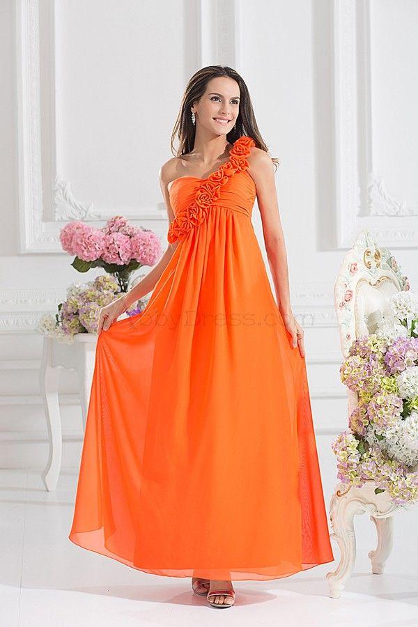 Elegant One Shoulder Sleeveless Chiffon Bridesmaids Orange