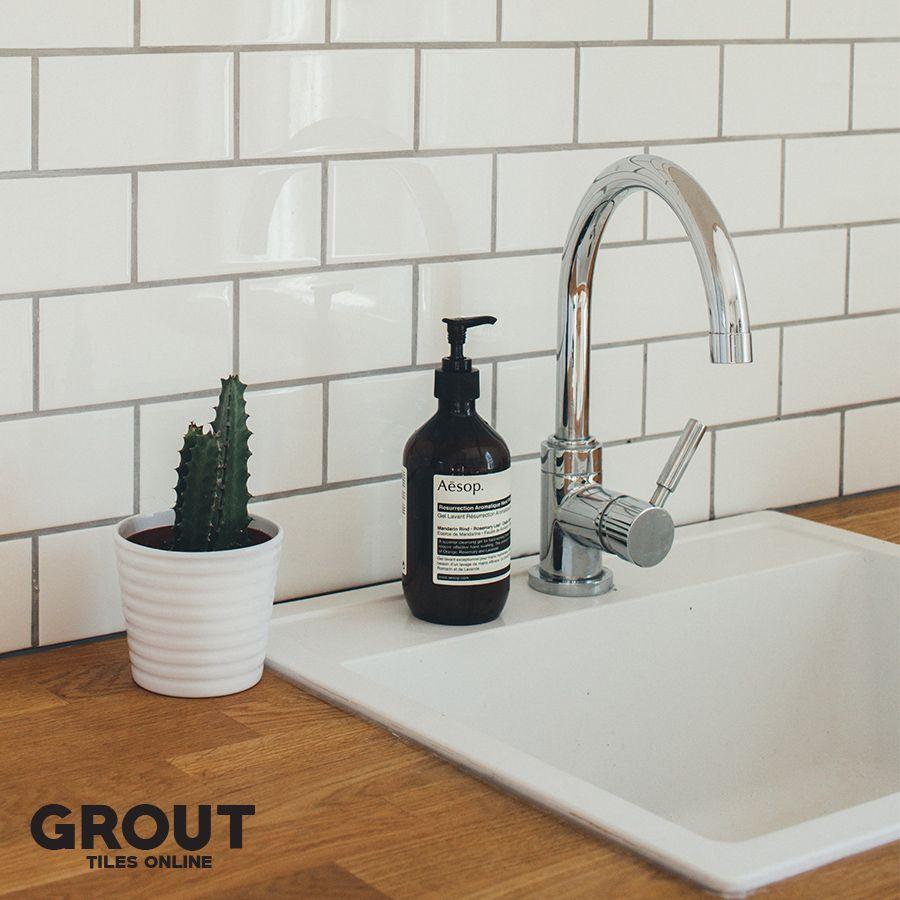 Love These White Metro Tiles With Dark Grout For Similar See Our Metro Range Metro Tiles Metro Tiles Kitchen Green Kitchen Walls
