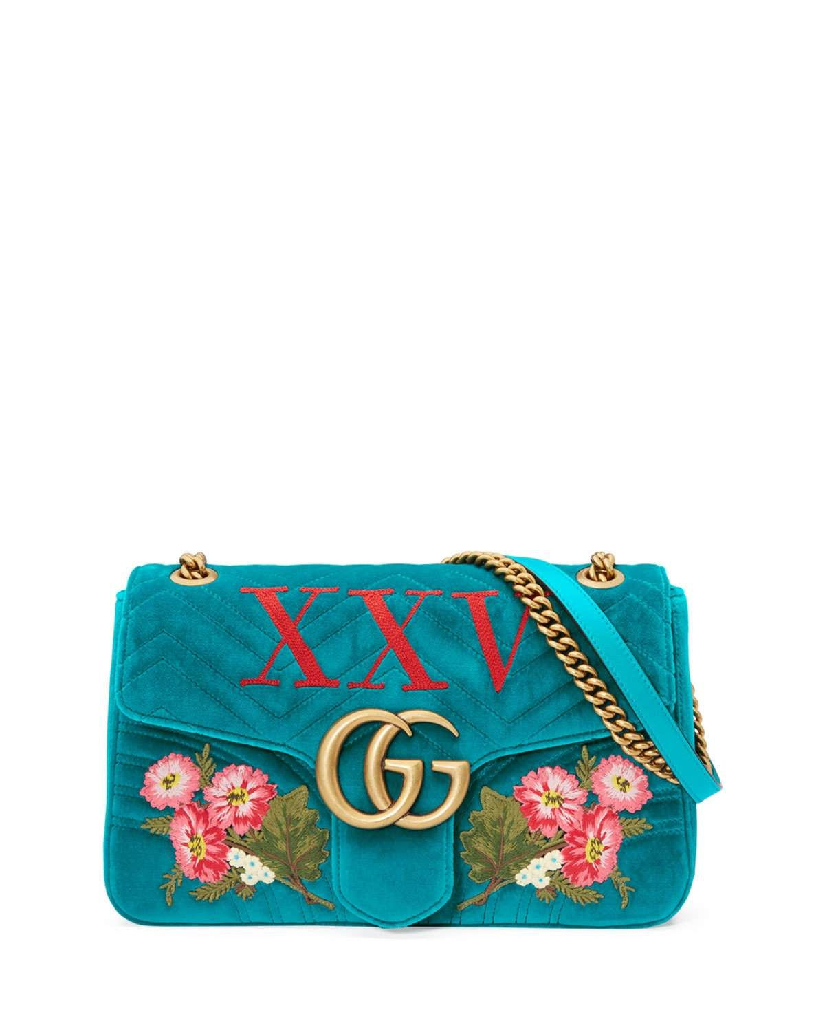 0e2325e41947 Gucci 110th Anniversary GG Marmont Small XXV Velvet Shoulder Bag ...