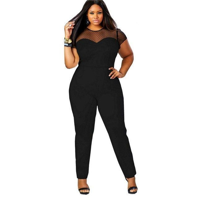 Sexy Splicing Jumpsuit Short Sleeve Solid Ladies Long Rompers Plus Size Jumpsuit
