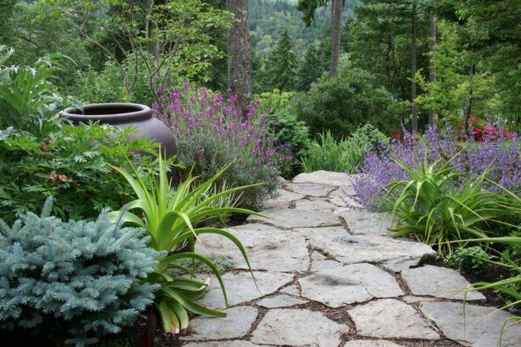 Decorar jardines rusticos - ideas decorativas con piedra y madera
