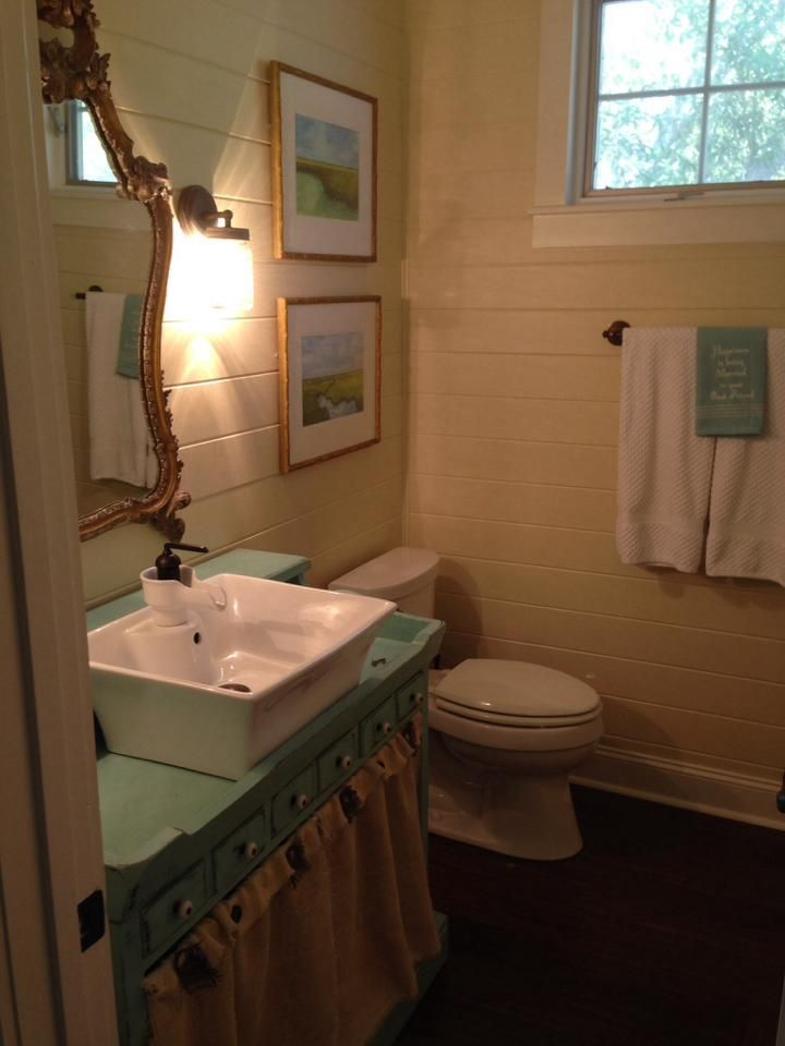 Image Of Ethan Allen Dry Sink converted to a bathroom vanity Painted in Southern Belle Decorative Paint