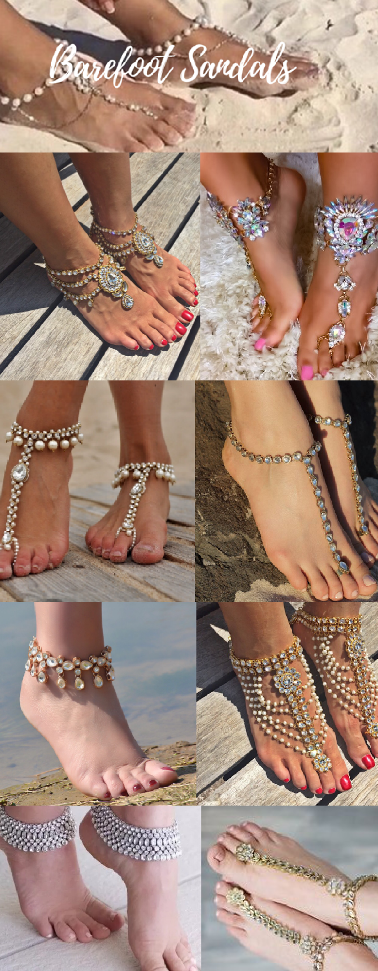 Beach wedding foot jewelry  Beach Wedding gold foot jewelry Beaded Barefoot Sandals for the