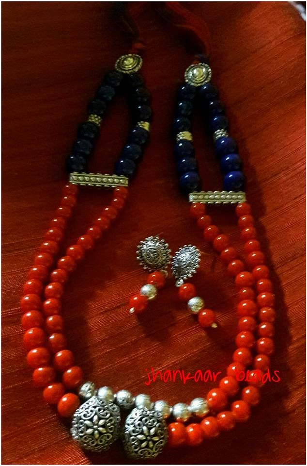 Doubled up red and blue with studs earrings