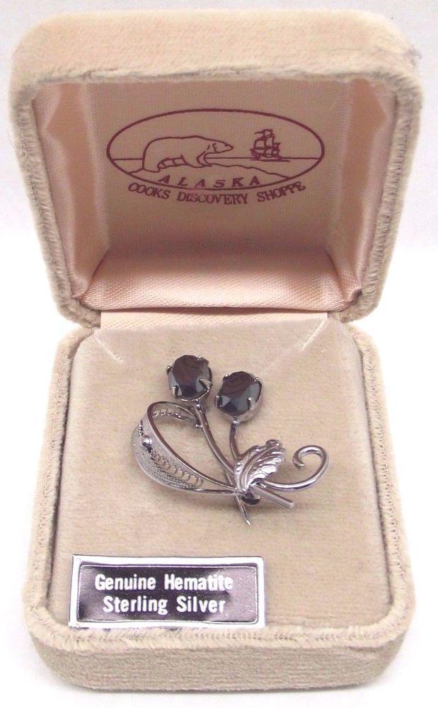 Vtg Sterling Silver Hematite Brooch ACE Pin Flower Design  Swirl Faceted Alaska  #ACE ebay