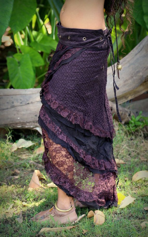 Gypsy Wrap Skirt Brown Hand Made Crochet Layer by AryaClothing