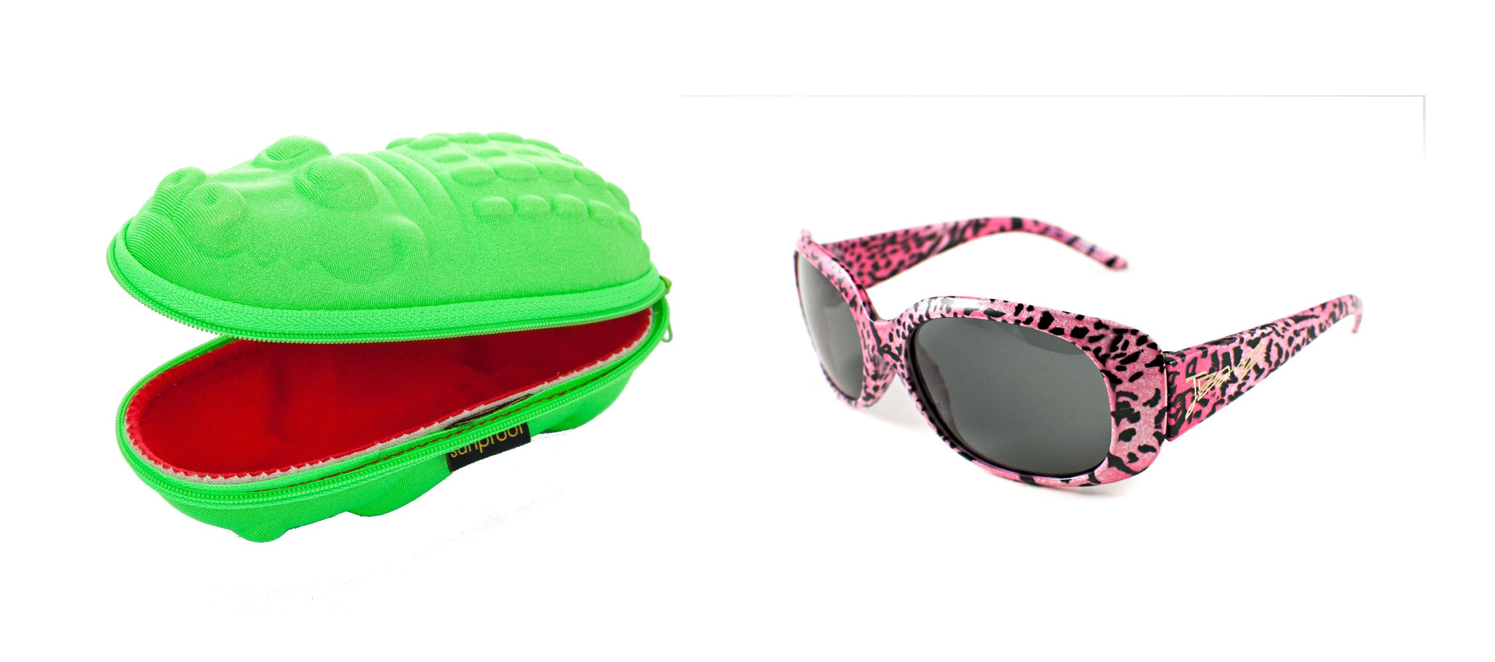 b304b4812076f1 Girls Gift set J Banz Pink Leopard Sunglasses and Green Crocodile  Sunglasses Case, suitable for ages 4 - 10 years