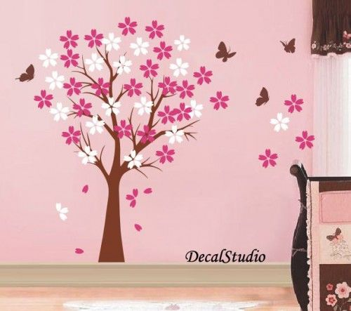 Blossom Cherry Tree-Wall decal baby girl nursery bedroomplayroom pink | decalstudio - Childrenu0027s on ArtFire  sc 1 st  Pinterest & Blossom Cherry Tree-Wall decal baby girl nursery bedroomplayroom ...