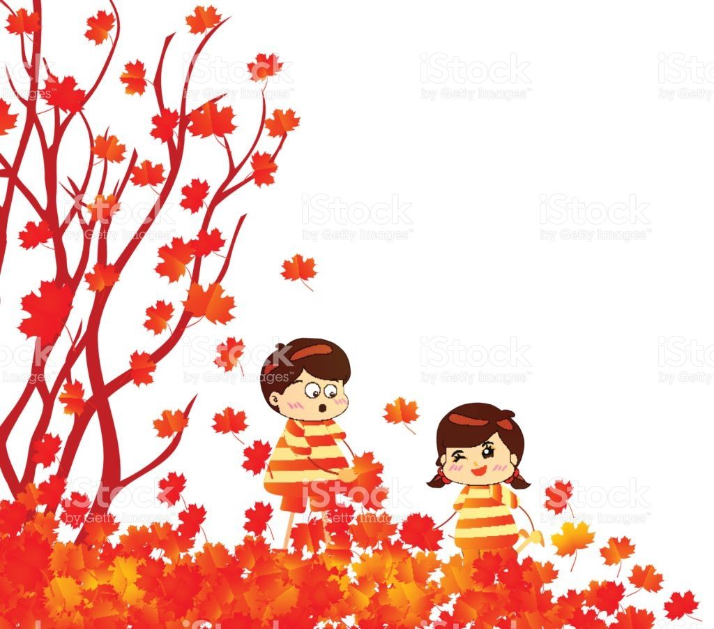 Hello autumn funny kids of a forest in autumn with leaves falling #autumnleavesfalling