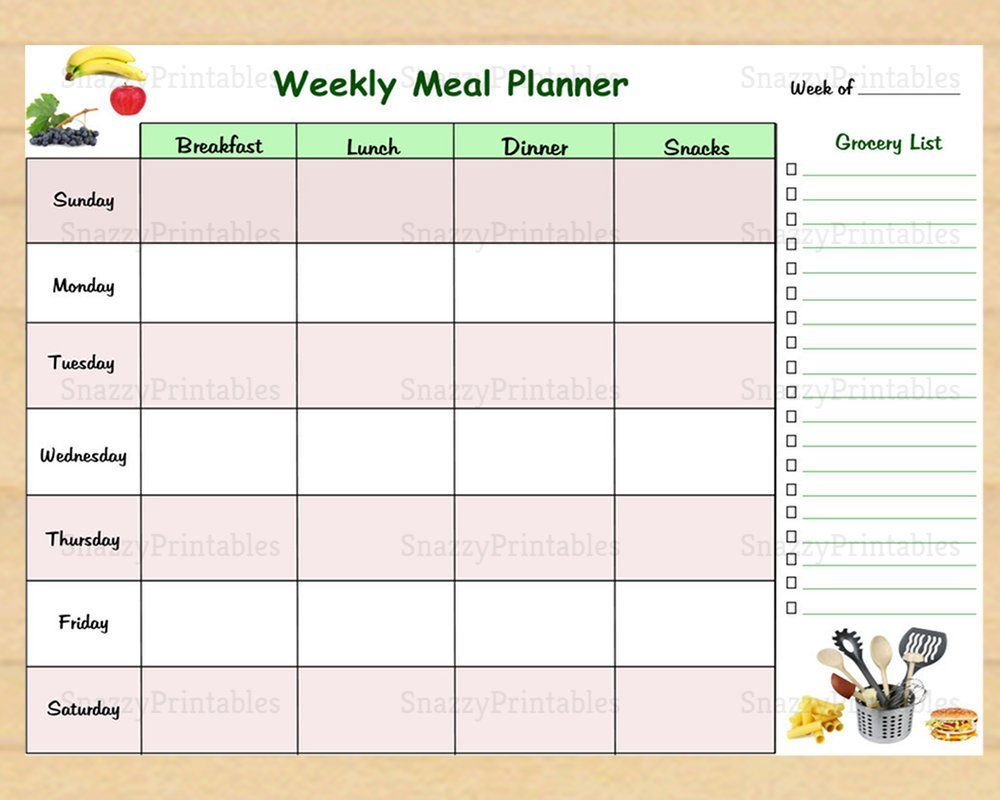Weekly Meal Planner Printable With Grocery List Weekly Etsy Weekly Meal Planner Printable Weekly Meal Planner Meal Planner Weekly meal planner template pdf