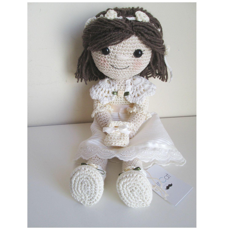 Muñeca comunión. Muñeca tejida a mano. Muñeca amigurumi. Handmade ...