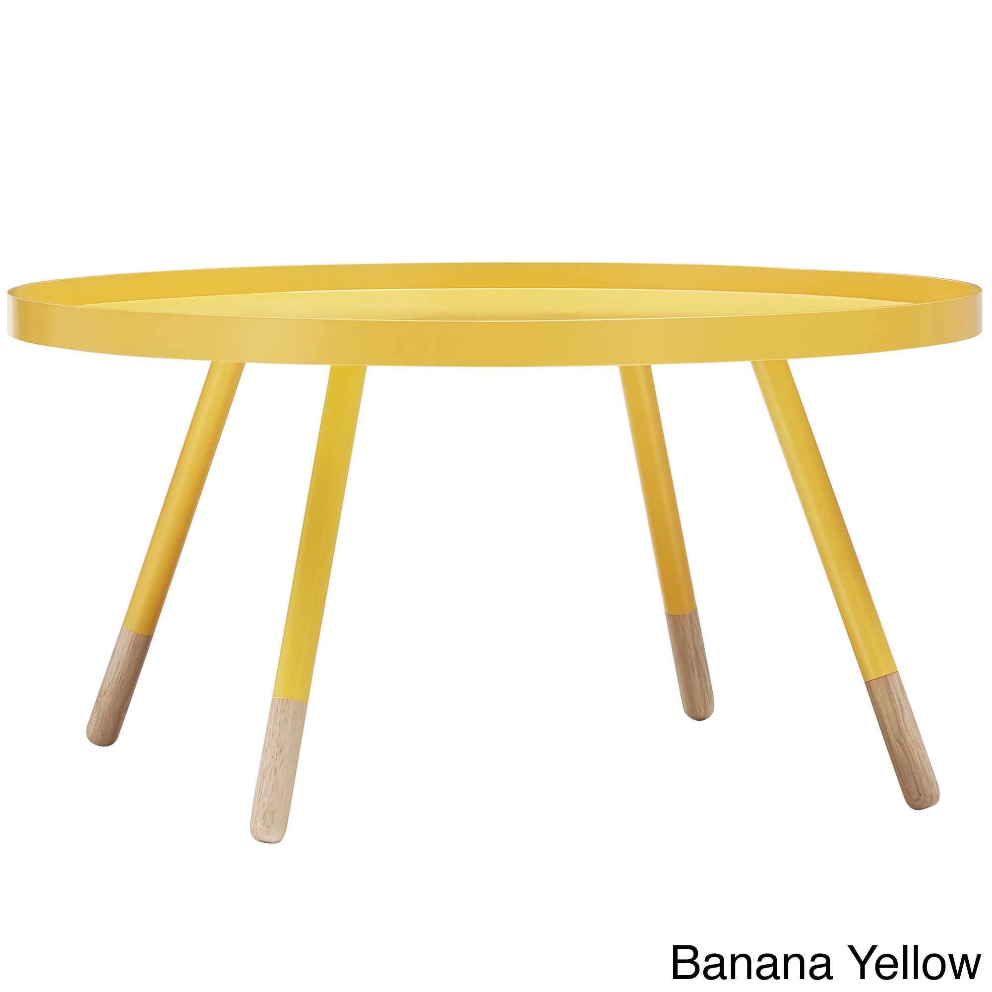 Marcella Paint Dipped Round Spindle Tray Top Coffee Table By Mid Century Living Bananayellow Yellow