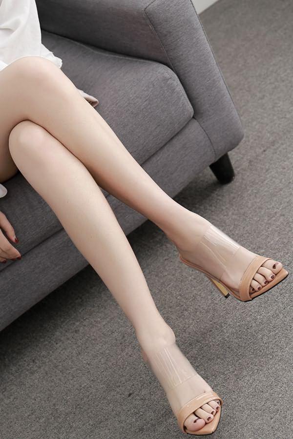 2344b0040f431 Women Apricot Clear Open Toe Stiletto High Heel Mules - 7.5 in 2019 ...