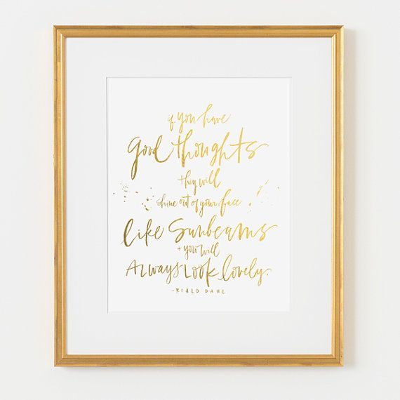 framed 8x10 print roald dahl quote faux gold foil choice of black