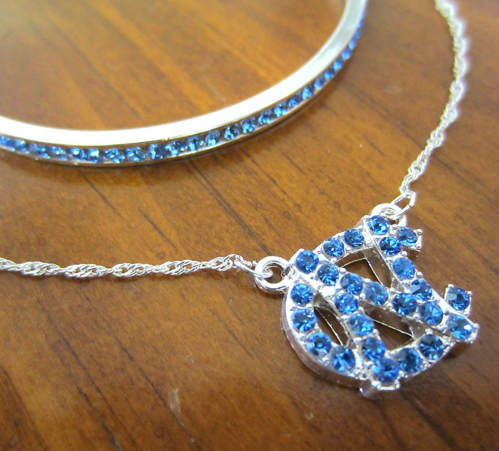 Great Set! UNC TAR HEELS BLUE CRYSTAL PENDANT NECKLACE and MATCHING BRACELET. North Carolina fan jewelry gift set - College-NCAA