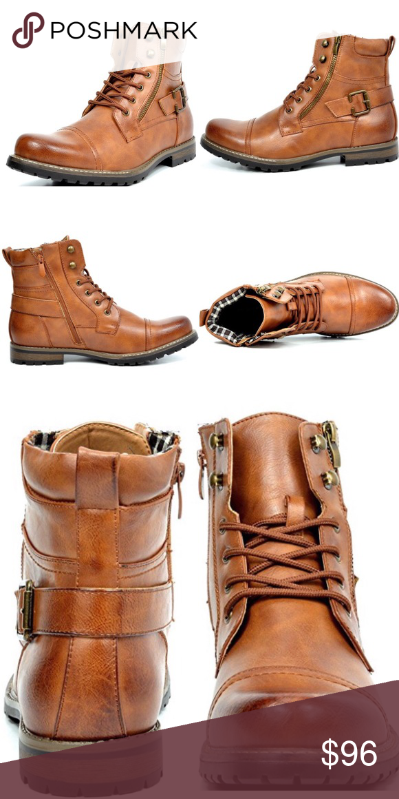a3571e9709e New Mens Bruno Military Motorcycle Combat Boots   Color: Brown ...