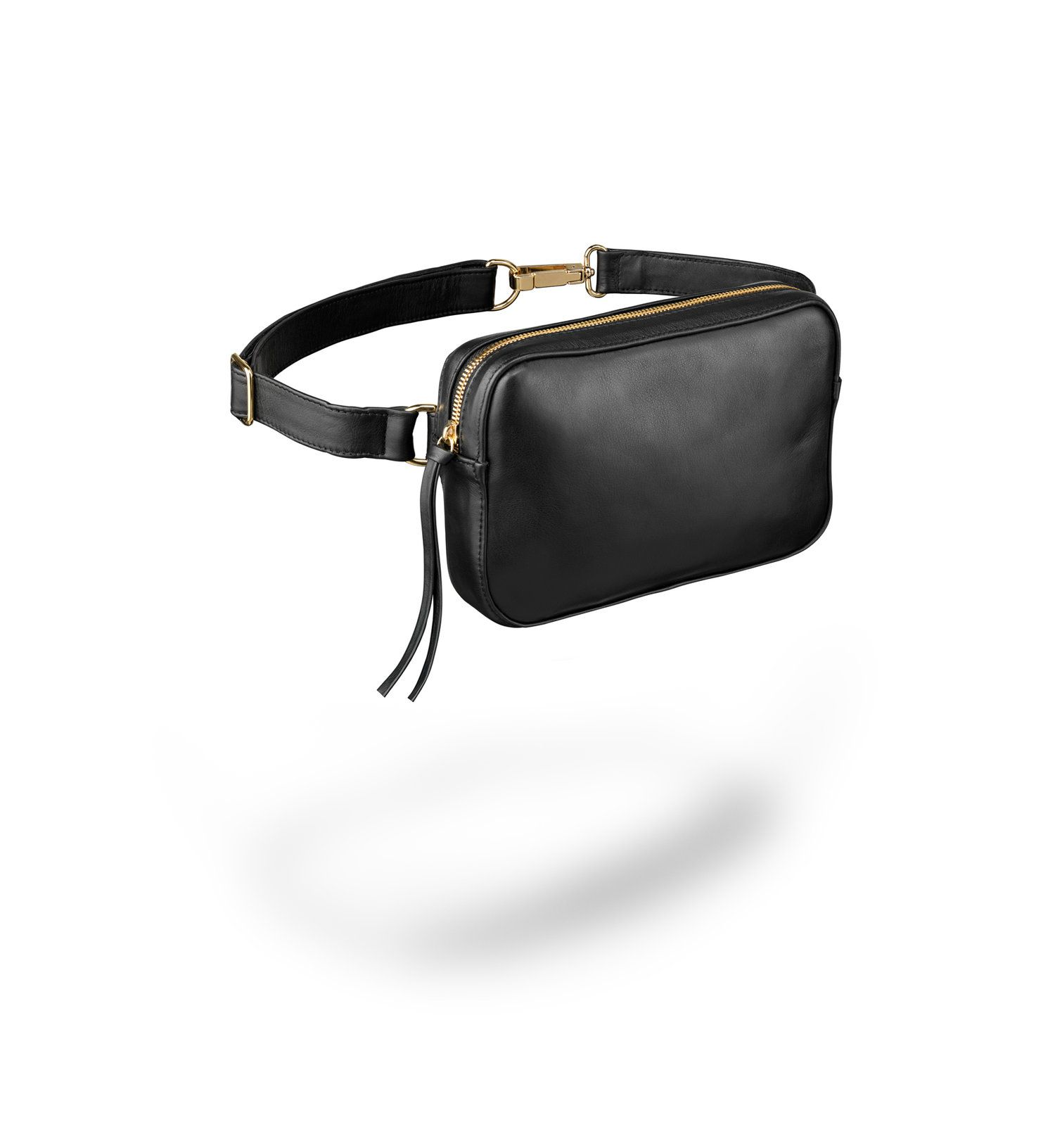 Women Faux Leather Belt Fanny Pack with Removable Belt Waist Pouch Dual-Use Belt Bags Black