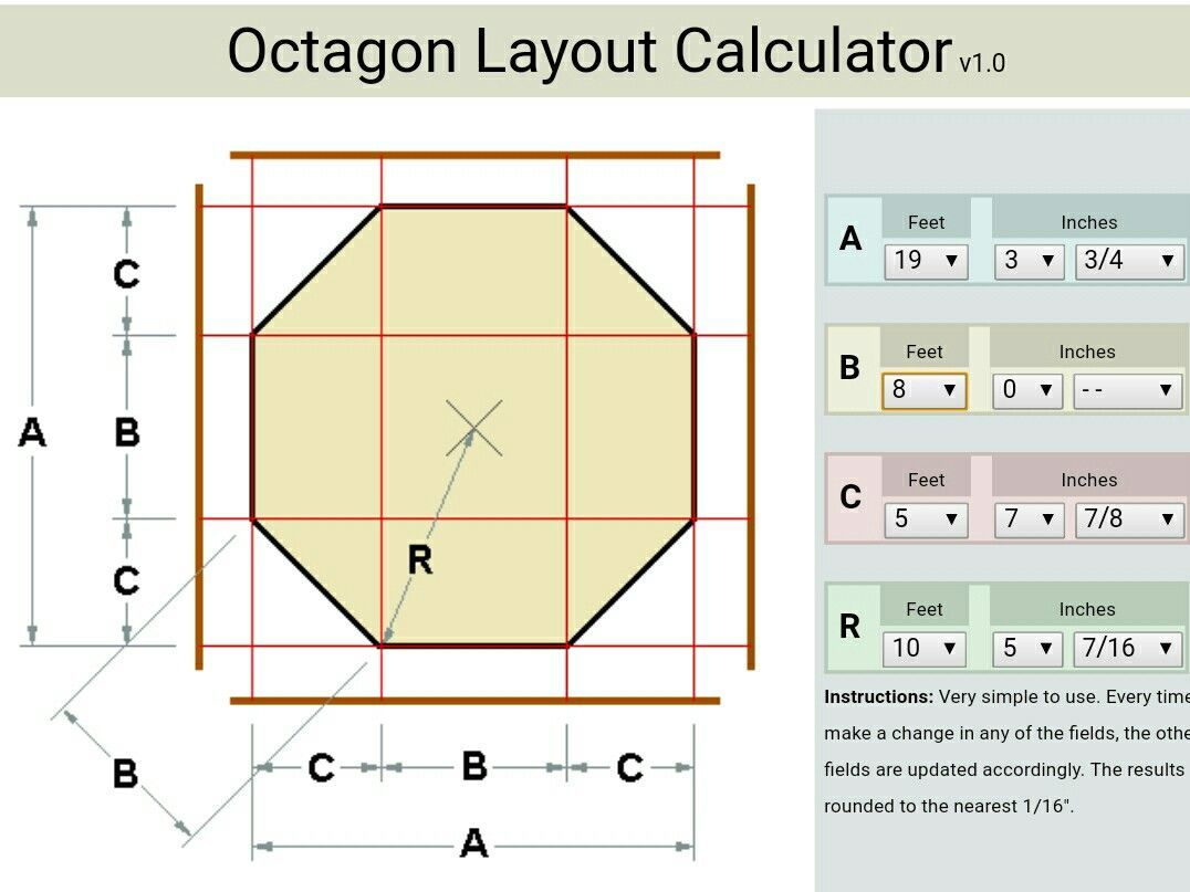 Octagon Layout Calculator So helpful for figuring out