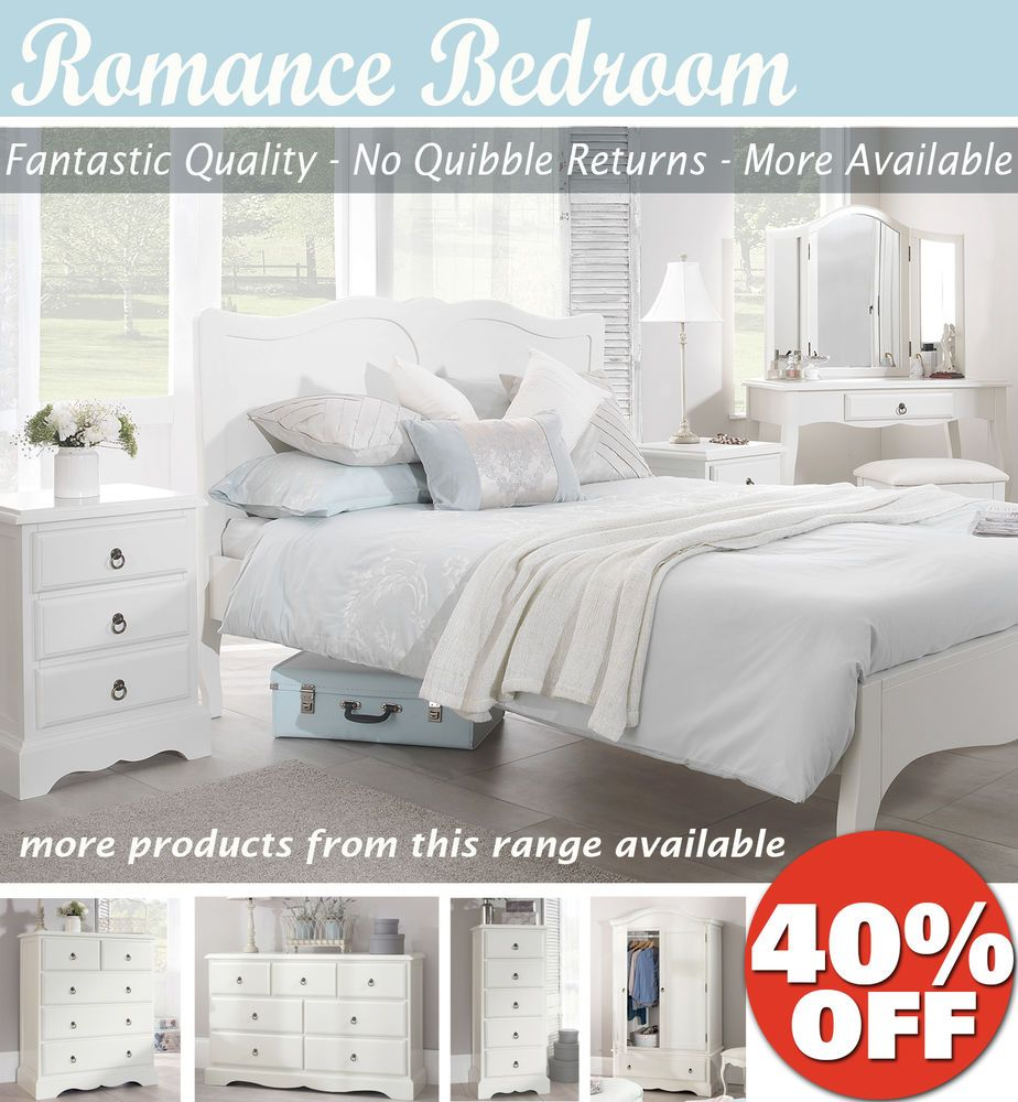 Romance shabby chic bedroom furniture chest of drawers bedside