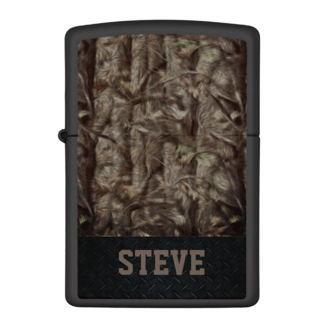 Brown and Black Camoflauge Personalized Lighter