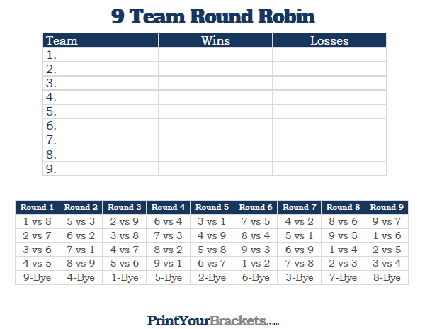 Printable 9 Team Round Robin Tournament Bracket Team Schedule Schedule Template Tournaments