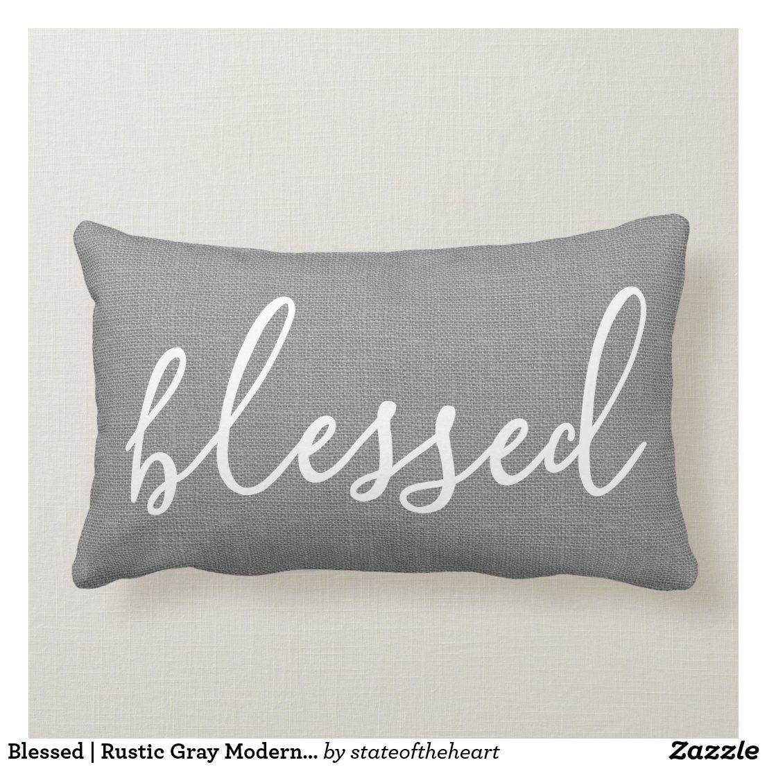 Blessed rustic gray modern farmhouse lumbar pillow