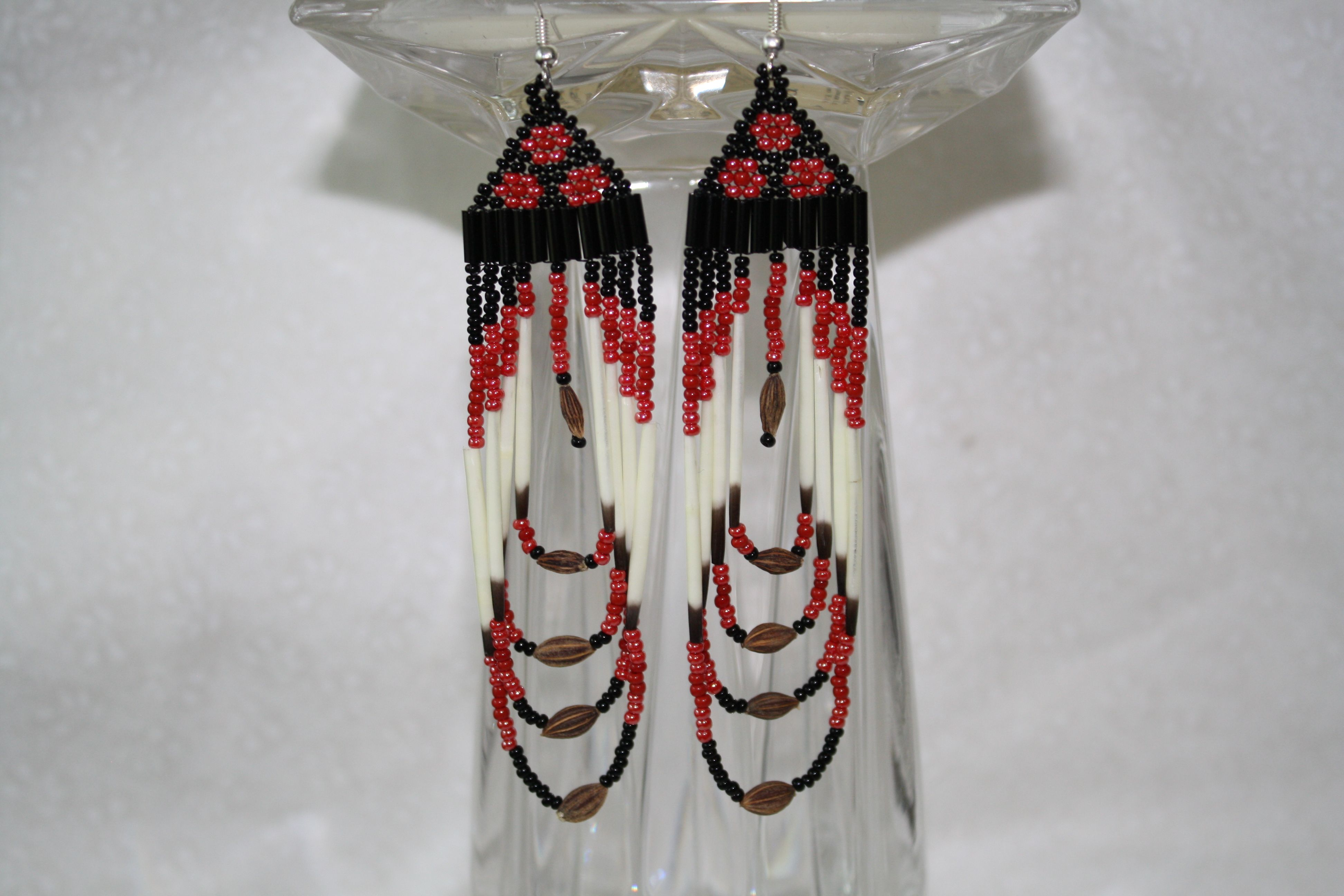 Beaded Berry Hanging Earrings