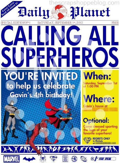 Superhero Newspaper Invitation Template Superhero Newspaper