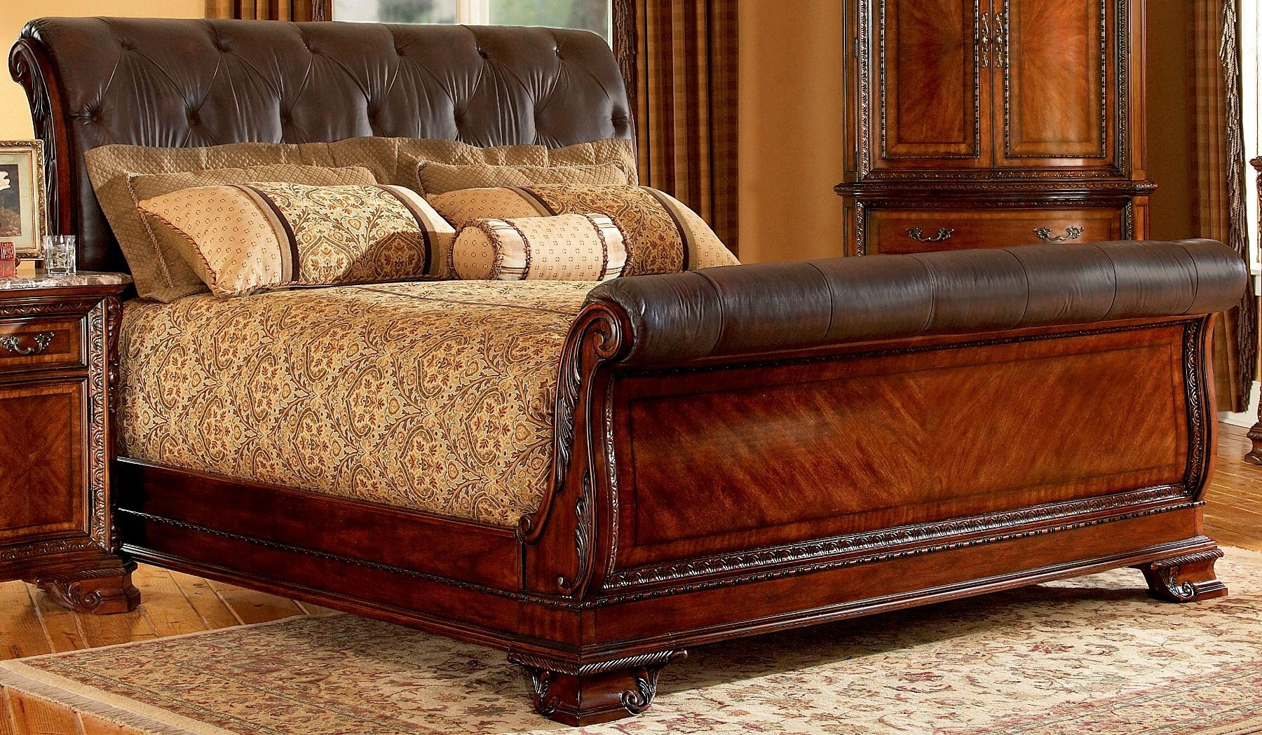 Rattan And Leather Sleigh Bed Queen Bedroom Furniture Brown Wood Bedroom Wood Bedroom Leather sleigh bed king
