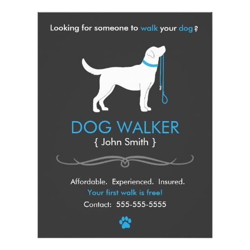 Dog walker walking business flyer template business for Building a dog kennel business