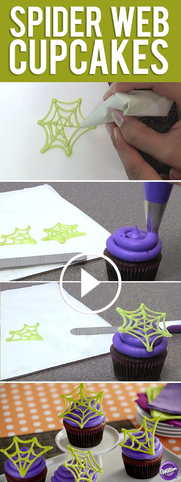 Make candy spider web cupcake decorations for Halloween