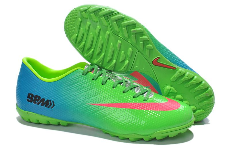 sneakers for cheap 8d10a 55f96 ... Chaussures de foot nike Mercurial Vapor IX TF Vert Bleu Orange pas cher  ...