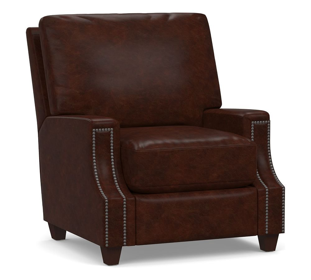 James Square Leather Recliner Leather recliner, Recliner