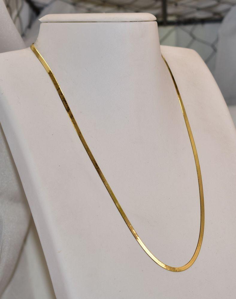 14 K Yellow Gold Italian 3 mm Herringbone Chain 20 1 4 inch 6 grams  Chain b4597a1d1ac9