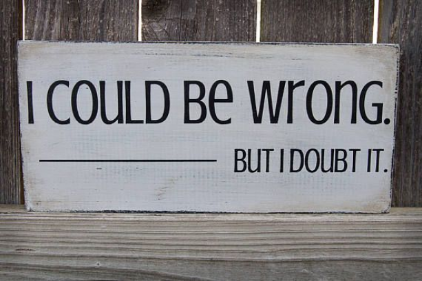 Cute and Snarky Rustic Sign: I could be wrong but I doubt ...