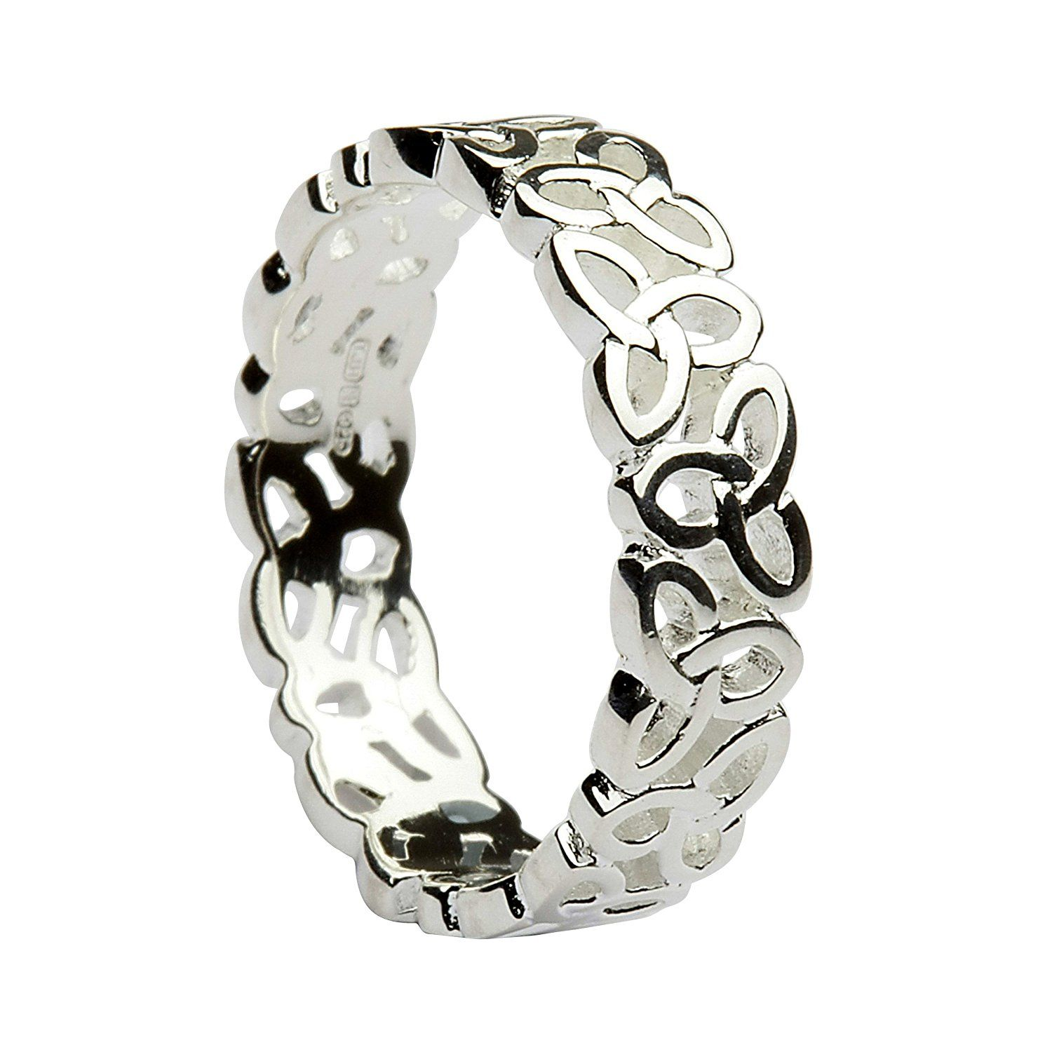 Celtic 5mm Solid Silver Irish Trinity Knot Band Ring. Gift Boxed ...