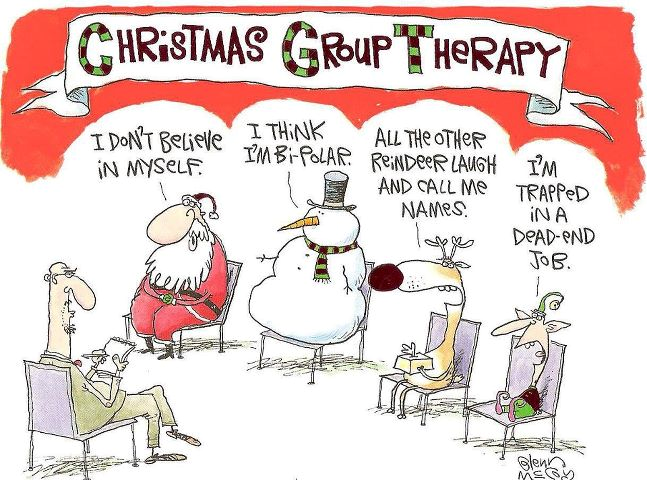 What do Santa, the Snowman, Rudolph and the elf have in common?  Yes, group therapy!