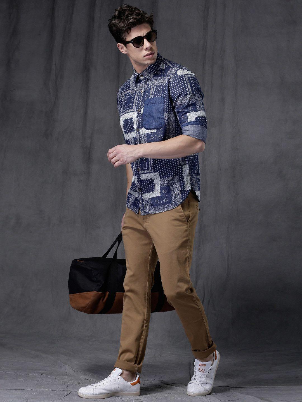 84e0cf19c43cae WROGN Blue Slim Fit Printed Casual Shirt   Stylish Shirts for Him ...
