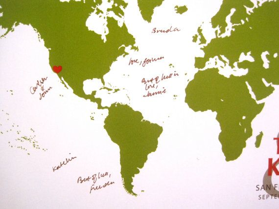 World Map Guestbook Signature World X Inches More Sizes - 16x20 world map