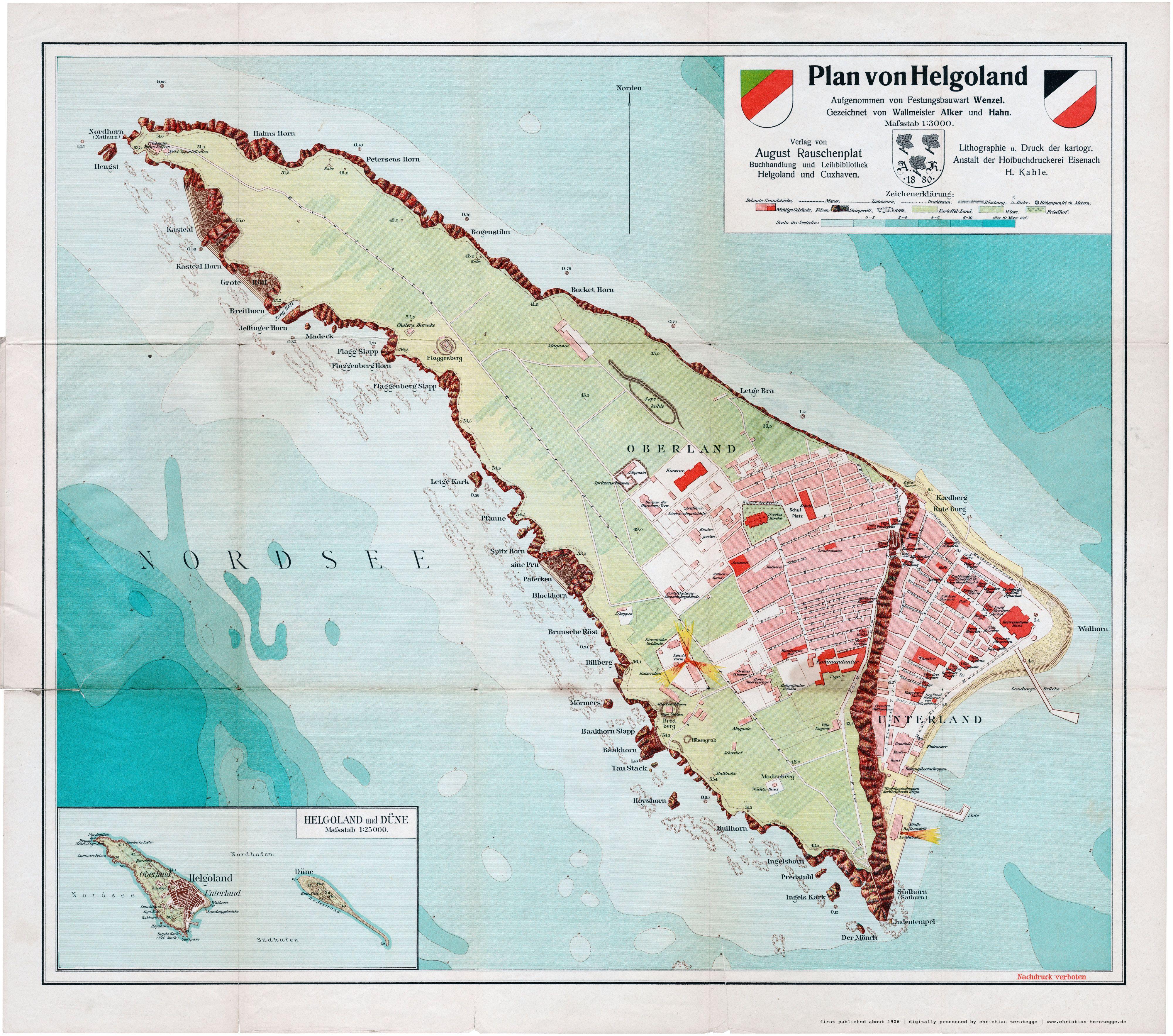 1906 Plan Von Helgoland Aufgenommen Von Festungsbauwart Wenzel