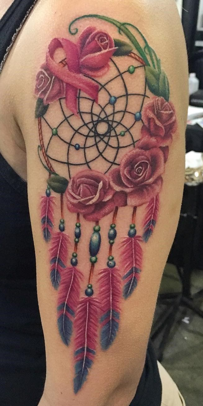 Breast Cancer Dream Catcher Tattoo Breathtaking dream catcher and breast cancer ribbon tatoo by 9
