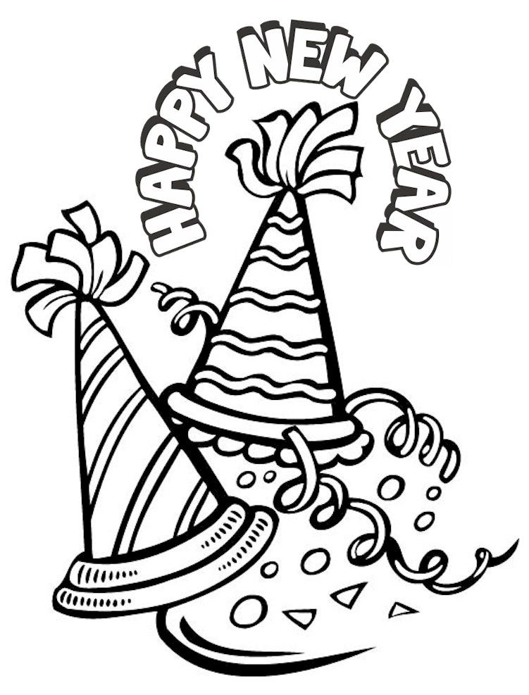Happy New Year Coloring Pages | Colour me | Pinterest | Navidad ...