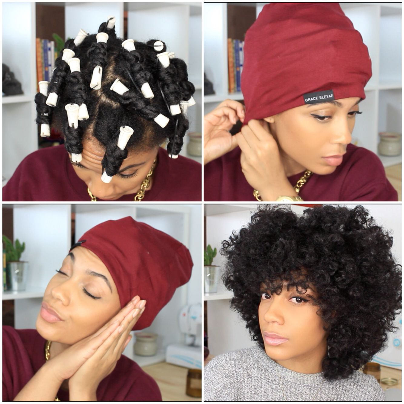 Satin Lined Cap Slap Natural Hair Twist Curl Curly Fro Thenotoriouskia