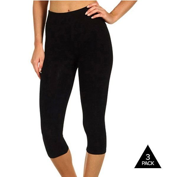 3-Pack of Andrew Scott Black Cotton Capri Leggings $16.99 (tanga ...