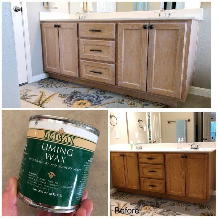 Diy Lime Wax On Honey Oak Cabinets Honeyoakcabinets Diy Lime Wax On Honey Oak Cabinets Honey Oak Cabinets Oak Bathroom Cabinets Oak Cabinets