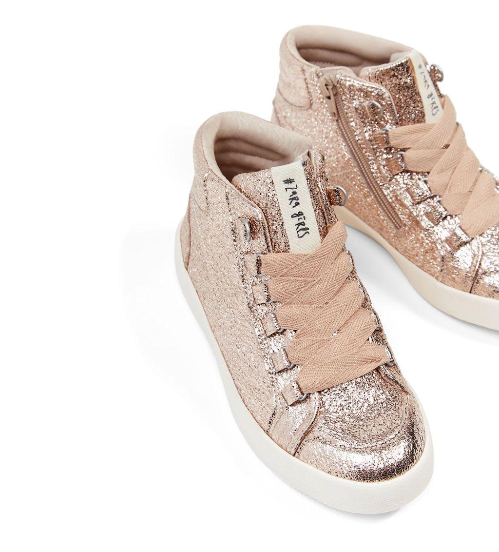Image 2 Of Metallic High Top Sneakers From Zara