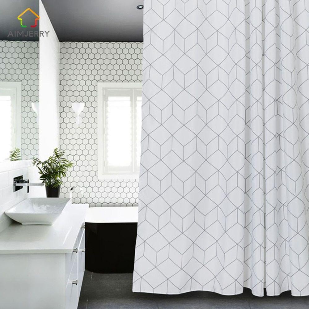 Aimjerry White And Grey Bathtub Bathroom Fabric Shower Curtain