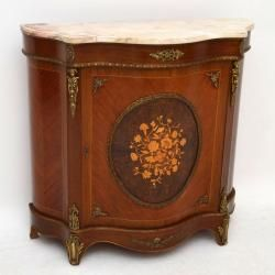 Beautiful marble top small serpentine fronted cabinet, with a burr walnut middle panel that's smothered with marquetry of many different woods. I think the main wood on the carcass is either walnut or Kingwood, with inlay too & it also has well cast gilt metal mounts. This piece is in good condition throughout, including the marble top & it has just been French polished.