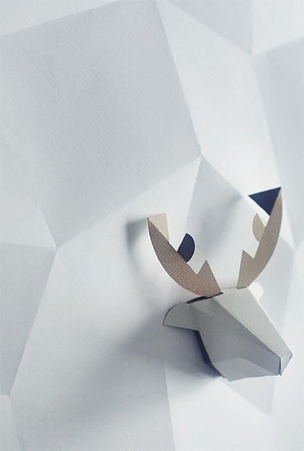 Decoesfera - Adorables cabezas de animales de Gu-pa en cartón para decorar la pared