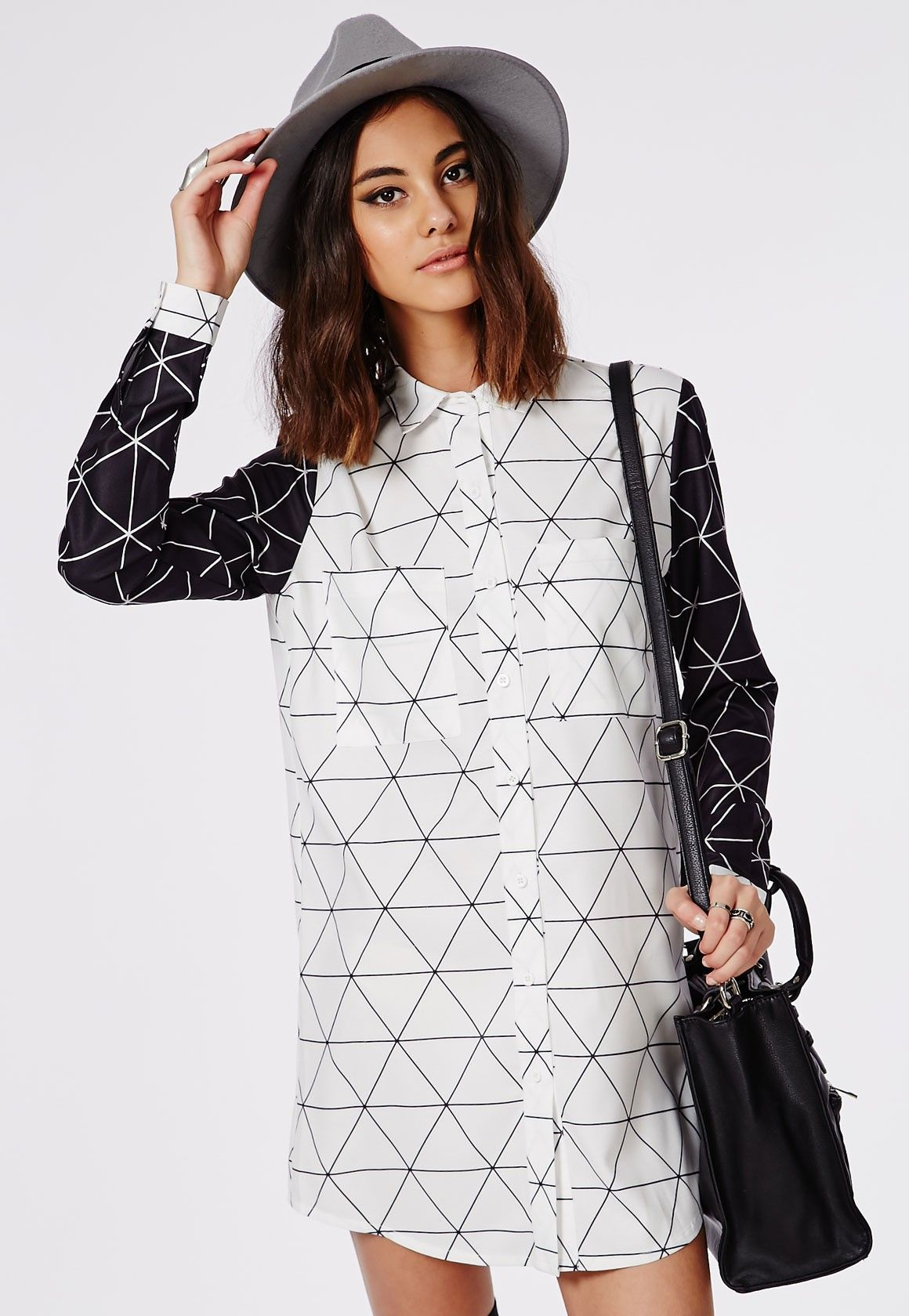 Contrast Grid Print Shirt Dress White / Black - Dresses - Shirt ...